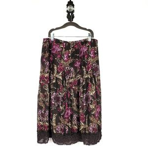 ANN TAYLOR Silk Linen Full Midi Floral Skirt 8